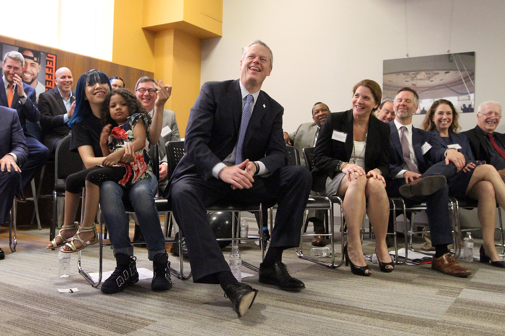 . Gov. Charlie Baker at ribbon cutting and dedication of the Nancy L. and Richard K. Donahue UTEC Hub for Social Innovation. (SUN/Julia Malakie)