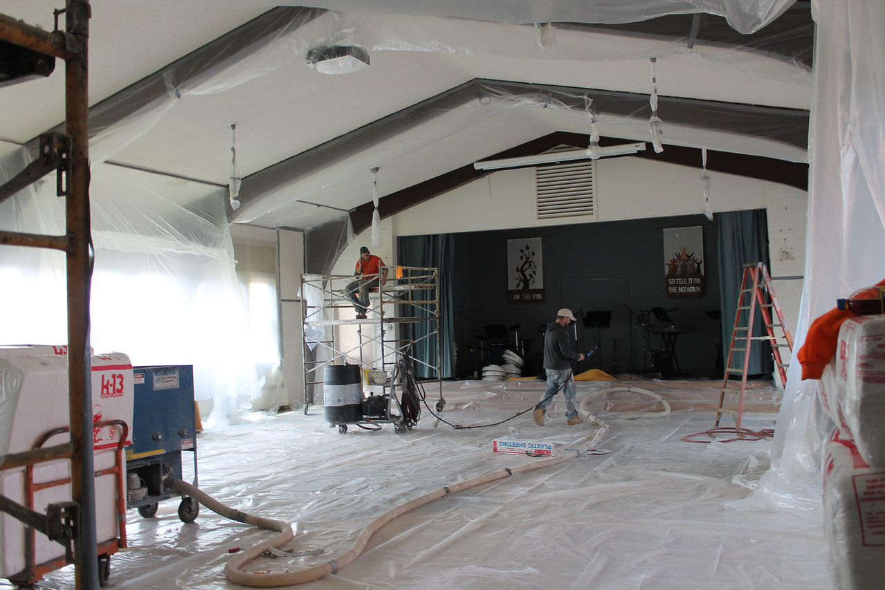LAWRENCE PANTAGES / GAZETTE An indoor room at United Church of Christ's facility at 217 E. Liberty St. is being renovated for improving the quality acoustics and sound, Pastor Neal Sadler said.
