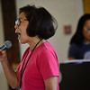 KRISTOPHER RADDER — BRATTLEBORO REFORMER<br /> Sheila Jordan, Vermont Jazz Center's vocal jazz program director, listens to Elaine Woo, from Newton, Mass., while she sings during the VJC's Summer Jazz Workshop on Friday, Aug. 9, 2019.