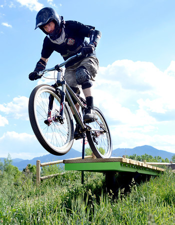 """Forrest Reynolds, of Boulder, rides his bicycle on Monday, May 21, at the Valmont Bike Park in Boulder. For more photos and video of the park go to  <a href=""""http://www.dailycamera.com"""">http://www.dailycamera.com</a><br /> Jeremy Papasso/ Boulder Daily Camera"""