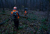 ELODIE REED - FOR THE BENNINGTON BANNER Rob Hamilton and his grandson, Cason, 9, both of Bennington, walk through the woods at dawn to reach their blind set, where they would sit and wait for deer during Youth Deer Weekend.