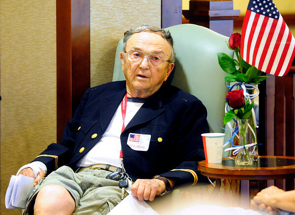 VETERANS<br /> Alfred LeBlang, who served in the Army in the Korean War, listens to speeches at Frasier Meadows retirement community during a ceremony honoring its 72 military veterans on Friday morning.<br /> <br /> Photo by Marty Caivano/July 1, 2011