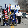 Former members of the Armed Forces lead the Veteran's Day Parade on Main Street in Longmont, Colorado November 11, 2009. CAMERA/Mark Leffingwell