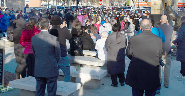 Shot of the crowd gathered for the Vigil for Asian American Hate Crime Victims at the Anne Frank Memorial.