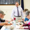 BEN GARVER — THE BERKSHIRE EAGLE<br /> Froio Senior Center Director Vin Marinaro visits with bingo players on his last day before retirement, Friday, May 11, 2018. Marinaro had been the director of the center for 8 years and will remain active with Age Friendly Berkshires.