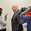 KRISTOPHER RADDER — BRATTLEBORO REFORMER<br /> U.S. Sen. Patrick Leahy, D-Vt., and Vermont Gov. Phil Scott visit Chroma Technologies, in Bellows Falls, Vt., on Thursday, Nov. 8, 2018.