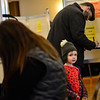 KRISTOPHER RADDER — BRATTLEBORO REFORMER<br /> Parker Tidd, 3, of Brattleboro, looks around the polling station at the Brattleboro American Legion as his father Jesse fills out his ballot on Tuesday, Nov. 6, 2018.