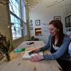 KRISTOPHER RADDER — BRATTLEBORO REFORMER<br /> Rosie Nevins-Alderfer, co-owner of W.R. Metalarts, works on a design for an engagement ring on Friday, Feb. 1, 2019.