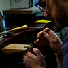 KRISTOPHER RADDER — BRATTLEBORO REFORMER<br /> Will Nevins-Alderfer, co-owner of W.R. Metalarts, works on the settings for the diamond to be placed on an engagement ring.