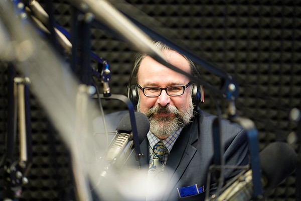 BEN GARVER — THE BERKSHIRE EAGLE<br /> Pittsfield School Superintendent Jake McCandless smile during the first few minutes on the Air at WTBR  in the new PCTV location,  Thursday, January 3, 2019.
