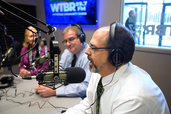 BEN GARVER — THE BERKSHIRE EAGLE<br /> Shawn Serre, Director of PCTV, gives thanks to the community of people that helped get WTBR back on the air, Thursday, January 3, 2019.