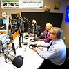 BEN GARVER — THE BERKSHIRE EAGLE<br /> WIlliam Sturgeon hosts Jake McCandles, Katherine Yon and Peter Marchetti on the first WTBR radio show of the year, bringing WTBR back on the air from its new PCTV location, Thursday, January 3, 2019.