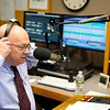 BEN GARVER — THE BERKSHIRE EAGLE<br /> WIlliam Sturgeon snaps on his headphones and begins speaking at 12:00pm exactly, bringing WTBR back on the air from its new PCTV location, Thursday, January 3, 2019.