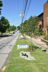 ASHLEY FOX / GAZETTE Wadsworth residents began claiming their prime locations to watch the Blue Tip Parade on Broad Street about a week before the event, placing tarps, lawn chairs and blankets on the tree lawns on either side of the street.