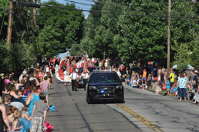 ASHLEY FOX / GAZETTE Thousands crowded on either side of Broad Street in Wadsworth as the Blue Tip Parade began Tuesday evening. About 140 units participated in the procession.