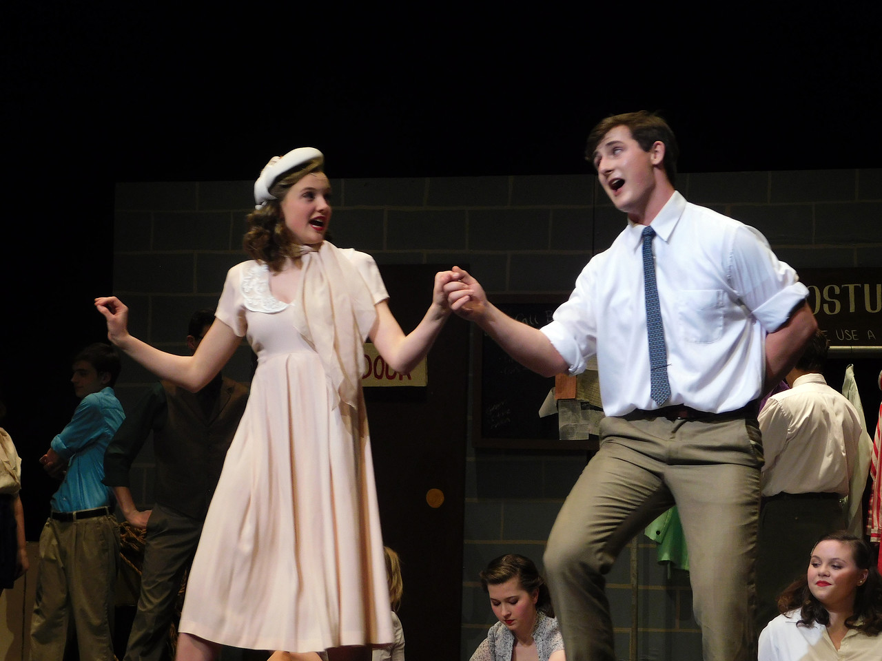 "NATHAN HAVENNER / GAZETTE  Junior Ellie Nicholas and senior Michael Juscak rehearse for the Wadsworth High School Off Broad Street Players' production of ""42nd Street."""