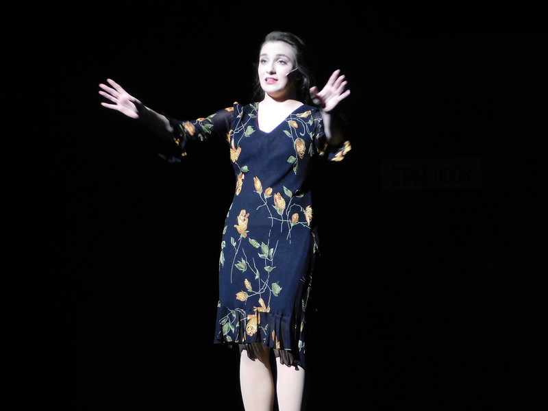 "NATHAN HAVENNER / GAZETTE  Senior Katie Callow, portrays Dorothy Brock, a past-her-prime actress, in the Wadsworth High School Off Broad Street Players' production of ""42nd Street."""