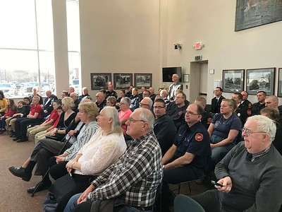 NATHAN HAVENNER/ GAZETTE  Wadsworth City Council Chambers, 120 Maple St., were filled with family, friends and firefighters during Robert Lindner's swearing in as chief of the Wadsworth fire department Monday.