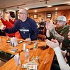 BEN GARVER — THE BERKSHIRE EAGLE<br /> Patriots fans at the Hot Dog Ranch react to a blocked touchdown against Philadelphia.
