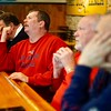 BEN GARVER — THE BERKSHIRE EAGLE<br /> Craig Venoit reacts as Philadelphia gains ground against the Patriots watching the Super Bowl at The Hot Dog Ranch in Pittsfield.