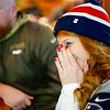 BEN GARVER — THE BERKSHIRE EAGLE<br /> Nikki Frambach reacts to a Patriots fumble in the 4th quarter watching the Super Bowl at the Hot Dog Ranch in Pittsfield.