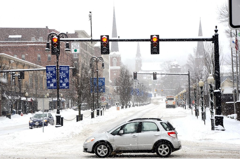 . Snow impacted travel in downtown North Adams on Wednesday, Feb. 5, 2014 as few motorists used the roadways. Gillian Jones/Berkshire Eagle Staff