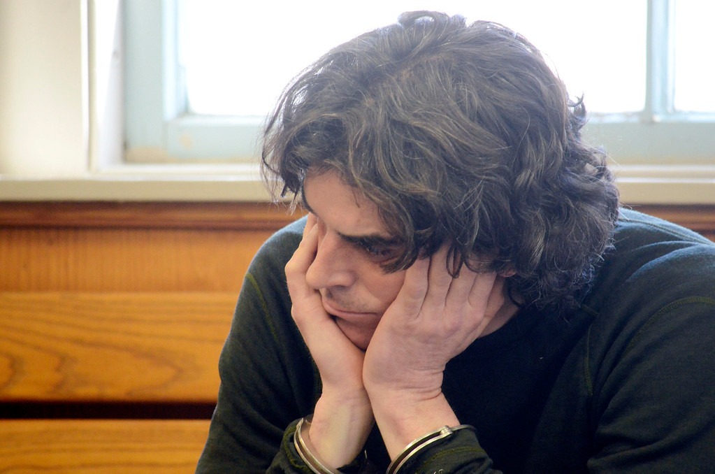 . Christopher Blair sits in South Berkshire District Court (Great Barrington) for his arraignement for the robbery of the Lee Bank branch in Stockbridge, Thursday March 20, 2014.  Ben Garver / Berkshire Eagle Staff / photos.berkshireeagle.com