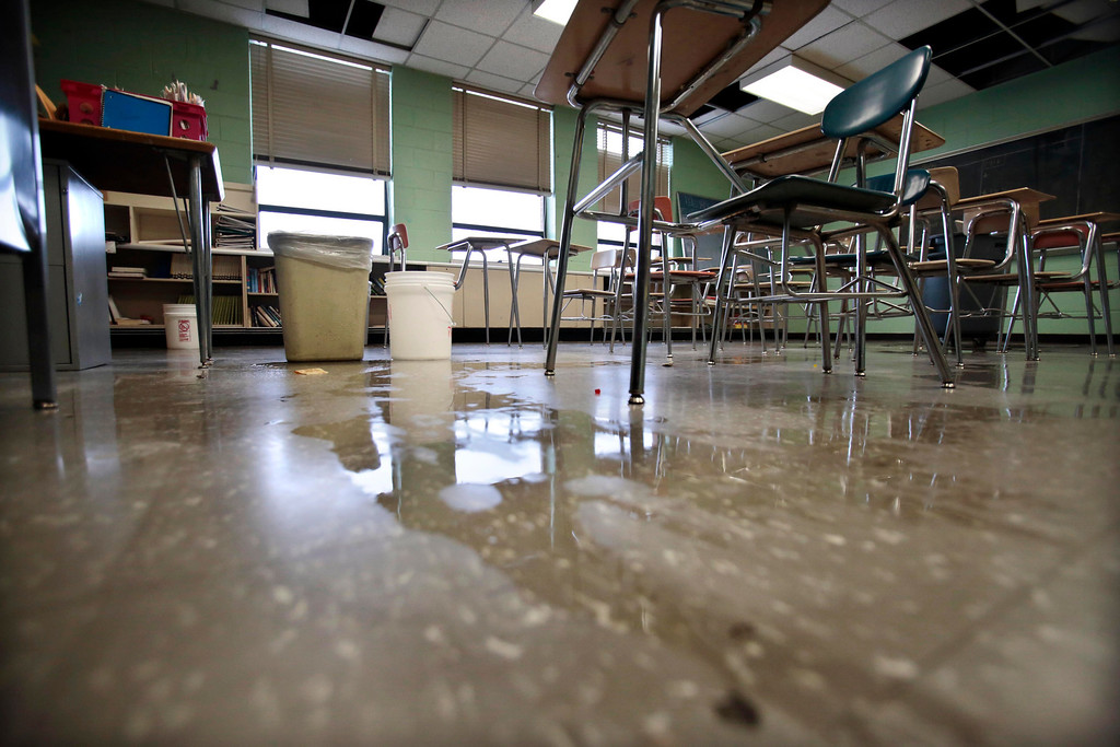 . Leaking rainwater has caused a stairwell and many classrooms to be closed at Taconic High School in Pittsfield. Thursday, March 20, 2014. Stephanie Zollshan / Berkshire Eagle Staff / photos.berkshireeagle.com