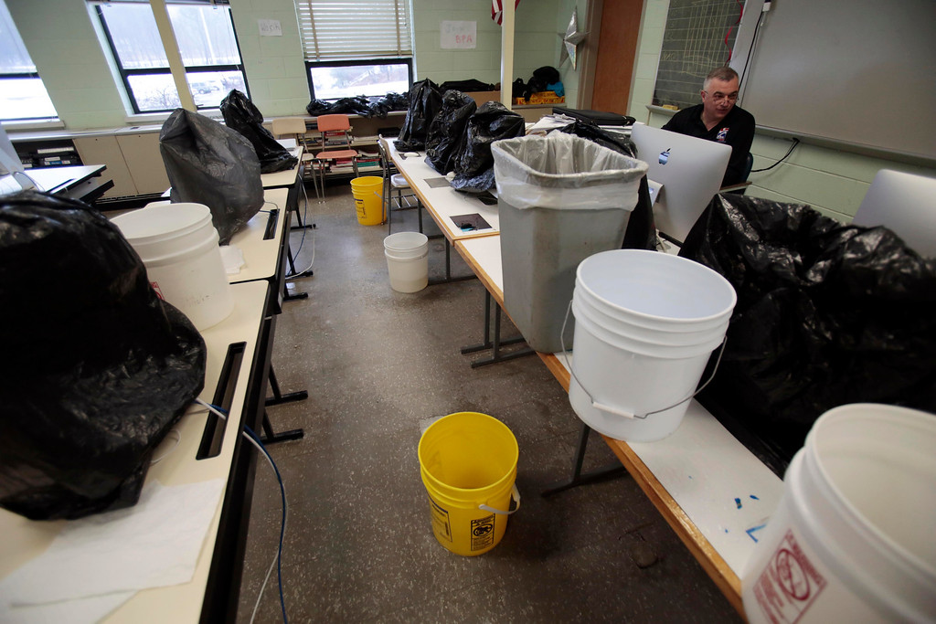 . Half of a computer room has been inundated with leaking rain water at Taconic High School in Pittsfield. Thursday, March 20, 2014. Stephanie Zollshan / Berkshire Eagle Staff / photos.berkshireeagle.com