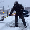 Bruce Smachetti of Pittsfield Shovels snow on Tuesday afternoon. December 17th 2013 Holly Pelczynski/Berkshire eagle Staff