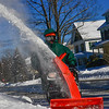 KRISTOPHER RADDER — BRATTLEBORO REFORMER<br /> Robert Glennon shoots snow up into the air while using a snowblower on Wednesday, Jan. 30, 2019.