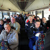 John Cross<br /> Local radio announcer Barry Wortel visits with a busload of fans that were going to attend a chilly Twins opener Monday at Target Field.