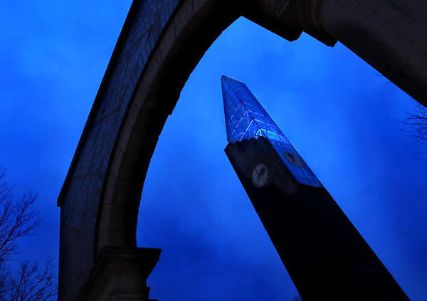 The Minnesota State University's bell tower was lit up with blue lights Wednesday night as part of World Autism Awareness Day. Photo by Pat Christman