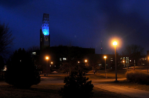 Minnesota State's Deaprtment of Special Education arranged to have the bell tower lit up blue for World Autism Awareness Day.  Photo by Pat Christman
