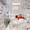 John Cross<br /> Gustavus Adophus professor Scott Bur works in his aluminized office.