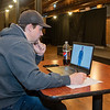 David Holmes with Mankato Playhouse watches a virtual audition for the upcoming musical Forever Plaid on Tuesday.