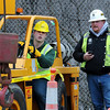 John Cross<br /> It was steady as she goes as Minnesota State University Construction Management student Jack Mages attempts to crush an egg with a crane under the guidance of TEI crane operator Wayne Brown. The event was part of a Construction Management Showcase at MSU on Monday.