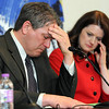 Todd and Melodee Hoffner show their emotions as Todd Hoffner reads a statement during a press conference Tuesday in Minneapolis. Photo by Pat Christman