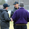 Minnesota State interim head football coach Aaron Keen shakes hands with reinstated head coach Todd Hoffner before practice Wednesday.  Photo by Pat Christman