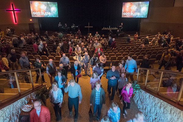 The congregation at Crossview Covenant files out of the chapel after a service on Good Friday. Photo by Jackson Forderer