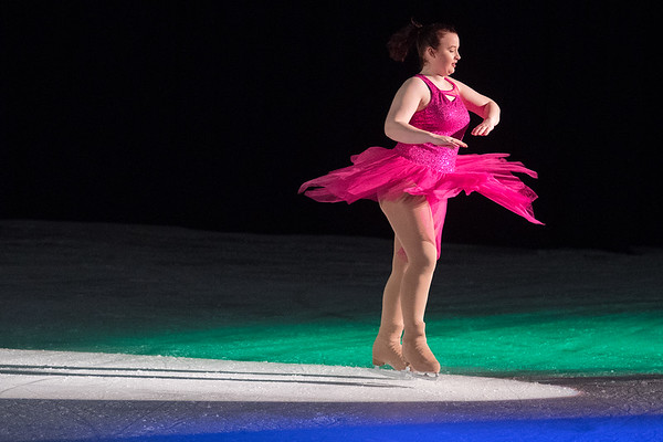 Molly Sorbo spins in the spotlight during a dress rehearsal of Toy Story on Ice at the All Seasons Arena on Tuesday. Photo by Jackson Forderer