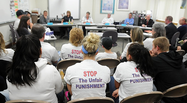 Family and friends wear t-shirts supporting USC junior Alyssa Drescher during an expulsion hearing Thursday at United South Central High School. Photo by Pat Christman