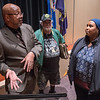 Syndicated columnist Leonard Pitts (left) answers a question posed to him by Ayan Musse with the Diversity Council after Pitts' speech given in Ostrander Auditorium on the Minnesota State University campus on Tuesday. Photo by Jackson Forderer