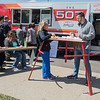 Niki Clarksean and Dallas Clarksean eat their lunch at one of the new tables at the Food Truck Hub on Friday. Four trucks were serving food at the Hub during lunch. The Clarksean's said it was their first time at the Hub. Photo by Jackson Forderer