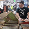 Beth-Ann O'Halloran (left) and Jeremy Jackson look through bins of records at Tune Town on Saturday during Record Store Day, a nationwide celebration of independent record stores. Photo by Jackson Forderer