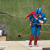"Richard Melarvie, 80, descends the VINE building on Saturday. Melarvie's daughter Dawn who lives in Chile raised the money for him to rappel down the building. In a speech from his daughter read by a radio personality before he descended, Dawn said, ""When our father was a young boy he fantasized about being Superman. Dad, your dream has become a reality!"" Photo by Jackson Forderer"