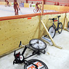 Bikes wait outside the boards for the next match during Saturday's bike polo tournament at the Mankato Curling Club.