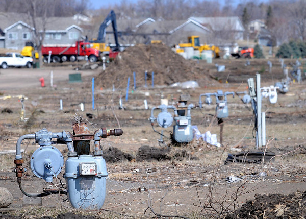 Gas meters and other utilities remain where mobile homes have been removed to make way for a North Washington Avenue re-alignment in St. Peter. Photo by John Cross