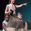 Lauren Senden, 17, is carried by two cast members during a scene of Tarzan at a dress rehearsal at Mankato East on Tuesday. Photo by Jackson Forderer