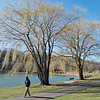 Orville Ziebarth walks past two willow trees along the path at Spring Lake Park on Thursday. Photo by Jackson Forderer